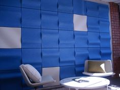 Commercial Office Lobby -  EchoPanel® Wave -  273 Blue with EchoPanel® Dune 908