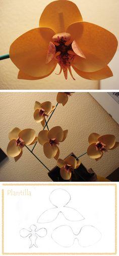 """Diy orchids flowers... orquideas de papel >una plantilla, un papel con textura, recortado y moldeado, ...pintar con el pincel """"seco"""" la pieza central, pegar los elementos a un palito verde... y ya!"""