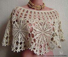 Crochet poncho, some charts. Turban Crochet, Poncho Crochet, Crochet Bolero, Crochet Collar, Crochet Blouse, Crochet Scarves, Crochet Clothes, Crochet Stitches, Crochet Woman
