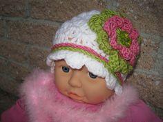Hat ROSEGREEN on WHITE Crochet for Baby Girl Lovely by ElsaLAbbe, $15.00