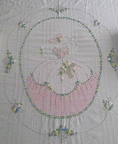 PIC ONLY - Southern Belle & Flowers Vintage Hand Embroidered 88 x 88 coverlet - Pillows/Coverlets Vintage Embroidery, Embroidery Applique, Cross Stitch Embroidery, Embroidery Patterns, Crochet Patterns, Vintage Bedspread, Vintage Pillows, Antique Quilts, Vintage Textiles