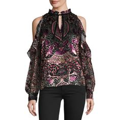 Parker Marjorie Paisley Velvet Cold-Shoulder Blouse ($220) ❤ liked on Polyvore featuring tops, blouses, multi, cut out shoulder top, keyhole blouse, cut out shoulder blouse, sweater pullover and high neck blouse