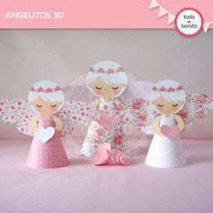 Shabby Chic Home Decor Diy And Crafts, Crafts For Kids, Paper Crafts, Christmas Angels, Christmas Crafts, Baptism Cookies, Paper Angel, Angel Crafts, Ideas Para Fiestas