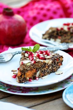 Pomegranate-Almond Quinoa + Sweet Potato Breakfast Bake