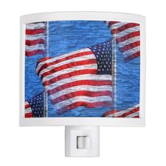 Red White and Blue American Flag Night Light