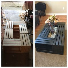DIY Crate Table / Coffee Table / Espresso Stain / Crates Crates Crates (Got the crates from home depot, stained them, nailed them together, put board in the middle, river rock, vase, and flowers, easy and cheap)