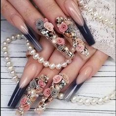 Beautiful handmade roses and bling nails by Ugly Duckling Master Educator 😍 Ugly Duckling Nails is dedicated to keeping love, support, and positivity flowing in our industry ❤️ Perfect Nails, Gorgeous Nails, Pretty Nails, Nails Inc, 3d Nails, Pastel Nails, 3d Acrylic Nails, 3d Nail Art, Nail Swag