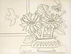 Sunflowers, Bird, Butterfly, By Françoise Gilot (French, born Pencil on paper. Francoise Gilot, French Artists, Pablo Picasso, Sunflowers, Original Artwork, Pencil, Delicate, Butterfly, Bird