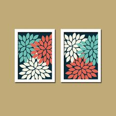 Bold Colorful Navy White Coral Aqua Floral Flower Burst Set of 2 Prints Wall Decor Abstract Art master Bedroom?