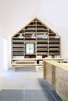 Design studio March Gut has converted a wine cellar in Austria into a tavern, with stepped seating on the roof to allow customers to get a better view Minimalist Interior, Minimalist Living, Retail Interior, Interior And Exterior, Interior Design, Modern Interior, Classic Architecture, Interior Architecture, Retail Store Design