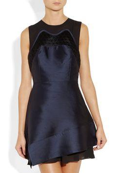 Proenza Schouler|Silk-shantung and chiffon dress
