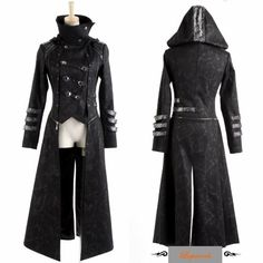 Black Gothic Calvary Hooded Goth Style Jackets and Long Coats Women Men