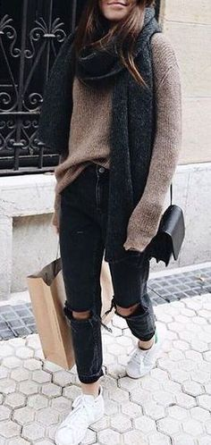 #fall #fashion / brown knit sweater + gray scarf