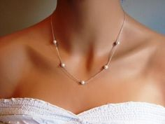 Silver Delicate Handwrapped Pearl Necklace- simple elegant bridal bridesmaids jewelry, available in gold, original design by ACutieChick. on Etsy, $24.00