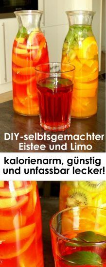 DIY Tipp: Selbstgemachter Eistee und Limo – kalorienarm, gesund, günstig Recipes for two incredibly tasty, affordable and healthy summer drinks! Refreshing and low in calories! Prepared in no time and incredibly delicious. Tea Recipes, Summer Recipes, Smoothie Recipes, Smoothies, Winter Recipes, Pasta Recipes, Sweet Recipes, Baking Recipes, Salad Recipes
