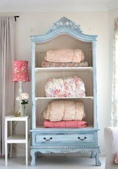 DIY Shabby Chic Decor Ideas - French Armoire Makeover - French Farmhouse and Vintage White Linens - Bedroom, Living Room, Bathroom Ideas, Distressed Furniture and Boho Crafts - Cheap Dollar Store Projects and Upcycle Repurposed Home Decor Repurposed Furniture, Shabby Chic Furniture, Vintage Furniture, Painted Furniture, Classic Furniture, Painted Hutch, Distressed Furniture, Farmhouse Furniture, Industrial Furniture
