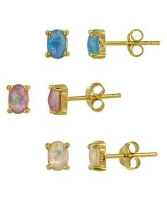 Another great find on #zulily! Blue, Pink & White Stud Earrings Set #zulilyfinds