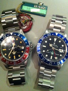 A pair of unique ROLEX GMT watches specially made for SAUDI AIRLINE in the 70's.  BREVETPLUS ROLEX GMT