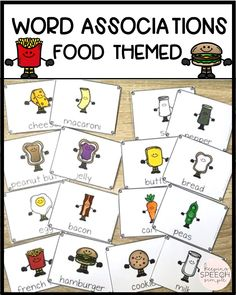 Fun vocabulary activities for kids! Word associations. Task cards. Food themed barrier games for speech therapy. Tons of language building activities for students. Great resource for the speech room! Can be used in special education classrooms! Hands-on activities! Vocabulary development! Click here to see more of this effective therapy resource!