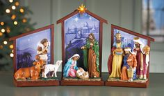Nativity Tabletop Scene with LED Star