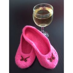 Knitted Felted Wool Slippers,Knitted Pink Slippers,Knitted House... ($24) ❤ liked on Polyvore featuring shoes and slippers