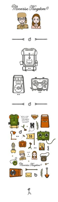 Personal illustration based on characters and items from Wes Anderson's movie : Moonrise Kingdom