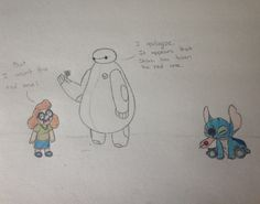 Big Hero 6 and Lilo and Stitch crossover fan art. I promise it looks better in person!