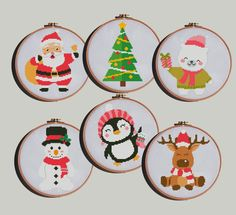 Excited to share the latest addition to my #etsy shop: Christmas cross stitch pattern set Merry Santa Claus Reindeer tree deer penguin snowman bear - Cross Stitch Pattern (Digital Format - PDF) https://etsy.me/2MSFdeq