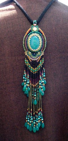 Beautiful Peacock pendant long fringe Necklace by ARTSTUDIO51 Gorgeuos!!!!