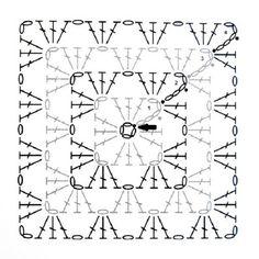 avó crochet tradicional diagrama quadrado