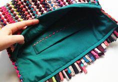 DIY fabric yarn clutch tutorial #tektekyarn