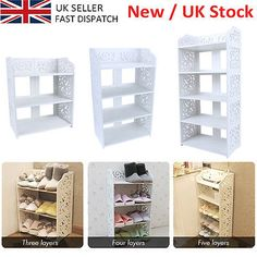 White Wood 3/4/5 Tier Shoe Rack Stand Storage Organiser Unit Shelf For Home Sale