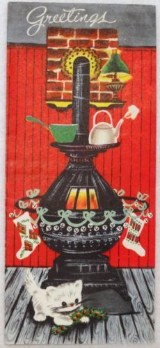 #1598 50s Kitty Cat by the Stove-Vintage Christmas Greeting Card