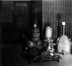 Bootlegger paraphernalia used during prohibition stored in the Glendale Police Department jail after a raid, May 13, 1927. Glendale Central Public Library. San Fernando Valley History Digital Library.