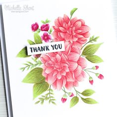 The Card Grotto: Dahlias. I started off by stamping the WPlus9 Beautiful Bouquets: Dahlias stamp set on to a panel of white cardstock, using MFT Pink lemonade Hybrid ink. I then added a light layer of colour to the image using Copic Markers. I then went in with Polychromos coloured pencils to add in the detail.