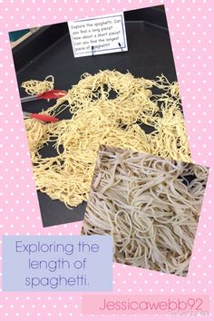 Exploring length with cooked spaghetti in the sensory area. EYFS