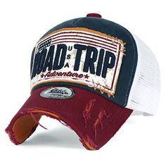 ililily ROAD TRIP Vintage Distressed Snapback Trucker Hat Baseball Cap , Navy: Amazon.ca: Clothing & Accessories