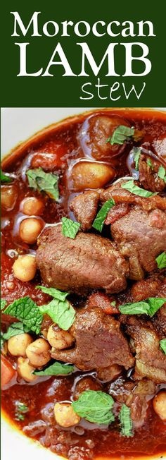 Easy Moroccan Lamb Stew Recipe | The Mediterranean Dish. Fall-apart tender lamb stew with rich Moroccan flavors, chickpeas and carrots! The perfect one pot dinner! See the recipe on The Mediterranean Dish.com #lamb #stew #onepot #moroccan #mediterraneanfood