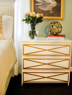 Gold overlays on white ikea malm dresser