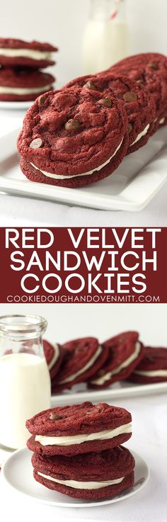 These Red Velvet Sandwich Cookies loaded with chocolate chips and a fluffy cream cheese frosting are the only sandwiches I need in my life. They're pretty!