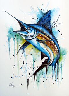 Fish Drawings, Animal Drawings, Art Drawings, Watercolor Fish, Watercolor Tattoo, Watercolor Paintings, Fish Jumps, Marlin Fishing, Blue Marlin