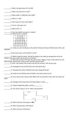 Grade 2 mtap reviewer Math Challenge, Grade 2, Fractions, Sheet Music, Second Grade, Music Sheets