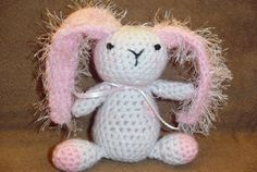 Pink and White Crocheted Bunny by thecrafter on Etsy, $15.00