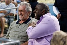 Dodgers owner Magic Johnson hosts his former Lakers coach Pat Riley at a Dodgers game on Aug. 22, 2012 at #DodgerStadium  http://celebhotspots.com/hotspot/?hotspotid=6452&next=1
