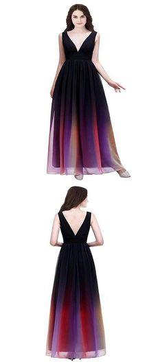 2019 A-Line Deep V-Neck Sleeveless Chiffon Long Prom – FreshProm Junior Prom Dresses, Prom Dresses For Teens, Unique Prom Dresses, A Line Prom Dresses, Beautiful Prom Dresses, Prom Dresses Online, Princess Frocks, Designer Formal Dresses, Simple Prom Dress
