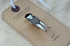 little swimmer brooch - by elizabeth pawle - modern design - hand drawn hand cut - black and white illustration pin badge How To Make Drawing, How To Draw Hands, Little Swimmers, Black And White Illustration, Pin And Patches, Cute Pins, Jewelry Packaging, Pin Badges, Jewelry Crafts