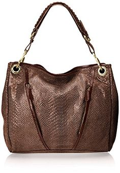 Women's Shoulder Bags - orYANY Bette Anaconda Leather Pleated Shoulder Bag Mushroom One Size ** You can get additional details at the image link.