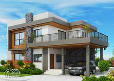 Two storey modern house featured today has 4 to 5 bedrooms and 4 toilet and bath with a total floor area of 255 square meters. Two Storey House Plans, One Storey House, 2 Storey House Design, Duplex House Design, Unique House Design, House Front Design, Four Bedroom House Plans, Bungalow Haus Design, Model House Plan