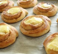 """Sunshine Buns/ Solskinnsboller - The inspiration for the """"Boiled Cream Treat"""" in Skyrim Coffee Recipes, Wine Recipes, Cooking Recipes, Viking Food, Norwegian Food, Scandinavian Food, Breakfast Pastries, Bread Cake, Recipes From Heaven"""