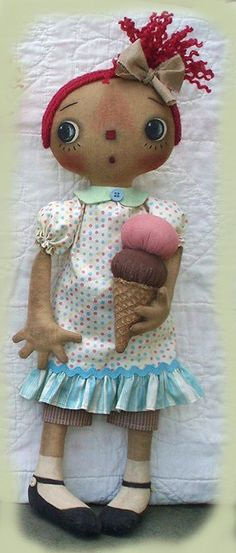 Primitive EPATTERN Raggedy Dolls and Ice Cream by SweetMeadowsFarm, $8.00